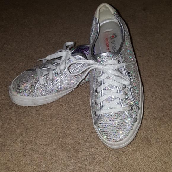 Bobs Skechers Silver Glitter Sneakers